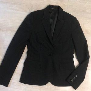 Black wool single breasted suit blazer jacket